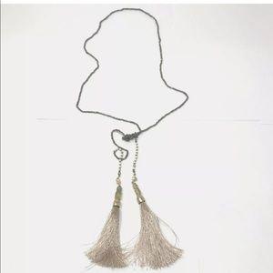 Fashion Necklace Beaded Tassel Gold Beaded Blush